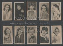 Cigarette cards  set  Stars of the Stage & Screen 1934